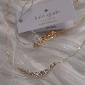 NWT Kate Spade cubic zirconia gold necklace